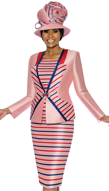 3pc Silk Womens Suit With Stripe Pattern