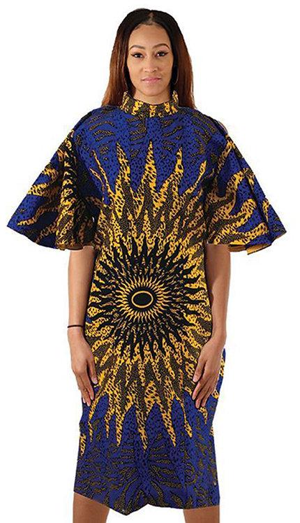 1pc Blue Sun Ruffle Sleeve Mod Dress