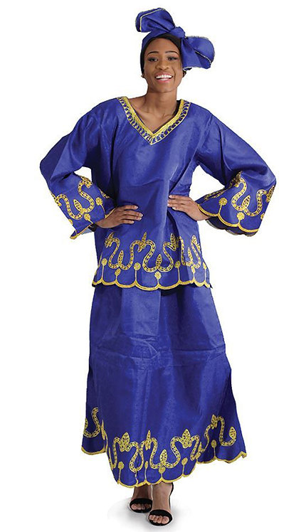 2pc Royalty Skirt Set With Head Wrap