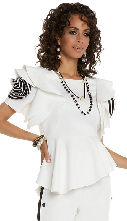 1pc Top With Striped Sleeve Motif