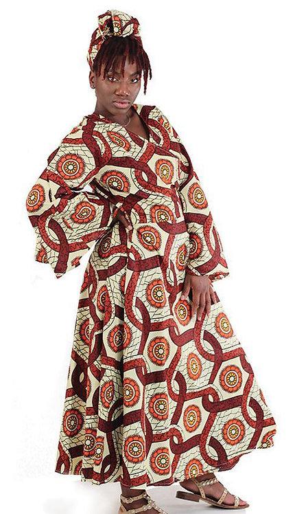 2pc Traditional Print Wrap Dress