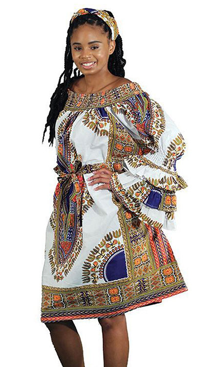 2pc Traditional Dress With Head Wrap