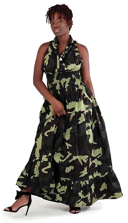 1pc Green Camo Sleeveless Dress