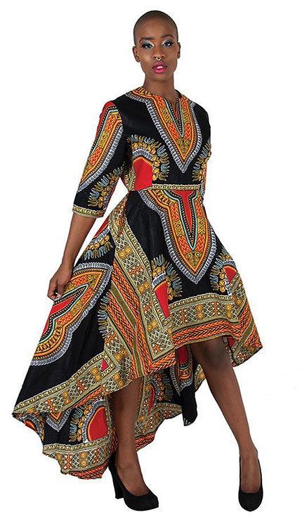 1pc Formal Traditional Print Hi Lo Dress