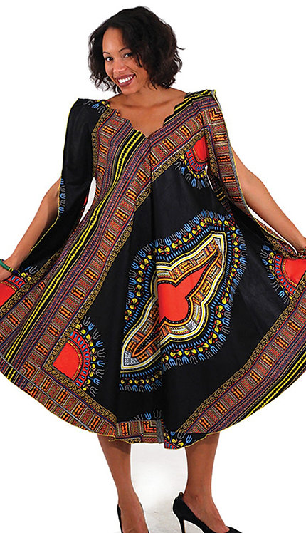 1pc Traditional Print Umbrella Dress