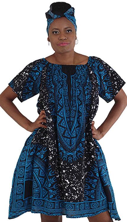 1pc Print Spot Dress With Head Wrap