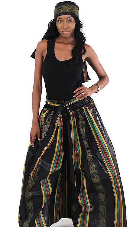 2pc Kente Flared Pants And Head Wrap