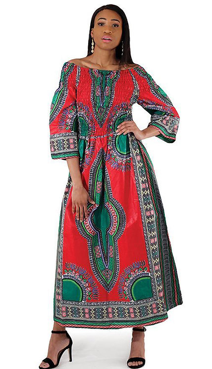 1pc Traditional Print Queen Dress