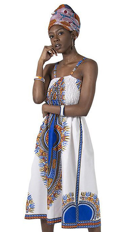 1pc Print Mom Dress With Head Wrap