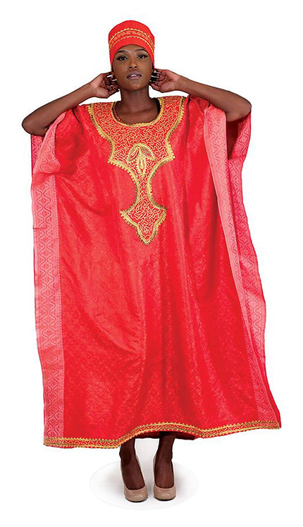 1pc Red Royalty Kaftan With Head Wrap