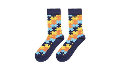 Crew Socks Jigsaw Pattern (Blue)