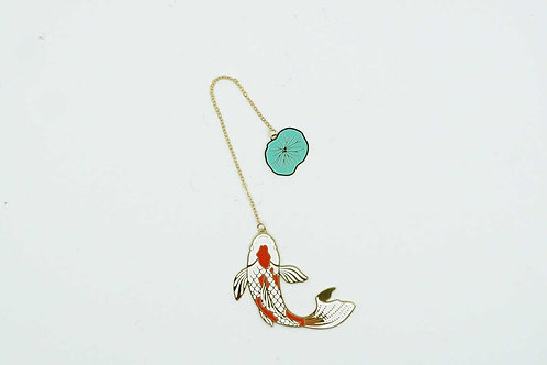 Fish shape Bookmark with Chain and Lotus Leaf
