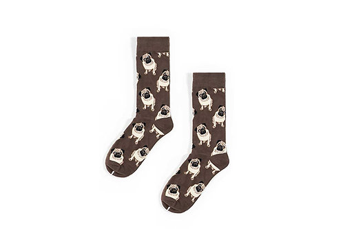 Pug Dog Crew Sock Men