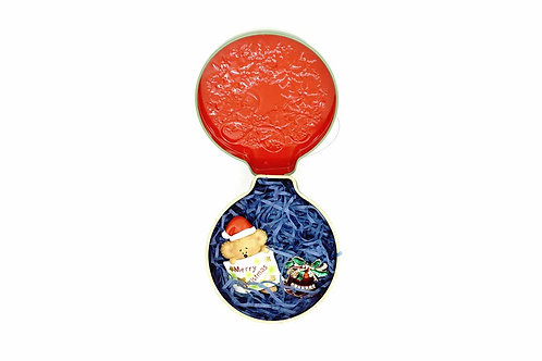 Bear Fridge Magnet & Jingle Bell Brooch in Tin Box