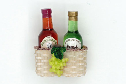 Wine with Basket Fridge Magnet