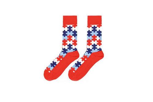 Crew Socks Jigsaw Pattern (Red)