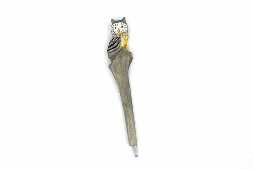Handmade Wooden Pen Owl Shape