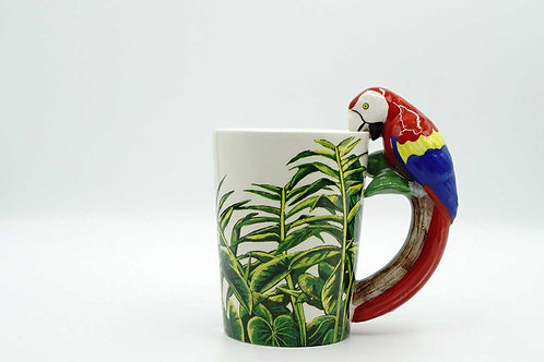 Colourful Parrot Shapped Handle Mug