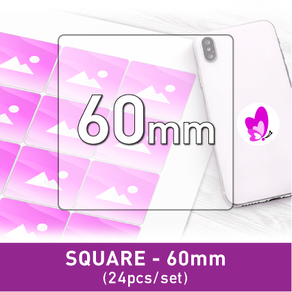 Label Sticker - Square 60mm (24pcs)