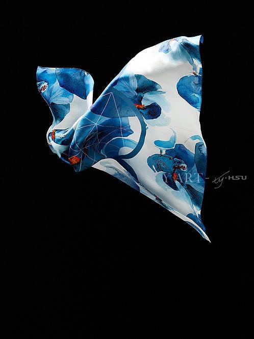 Orchids- watercolor design - Silk scarf