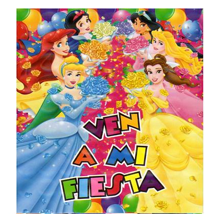 Invitacion Princesas c/10 pzas