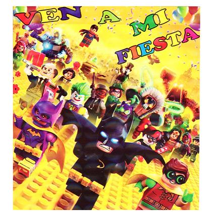 Invitacion batman lego c/10 pzas