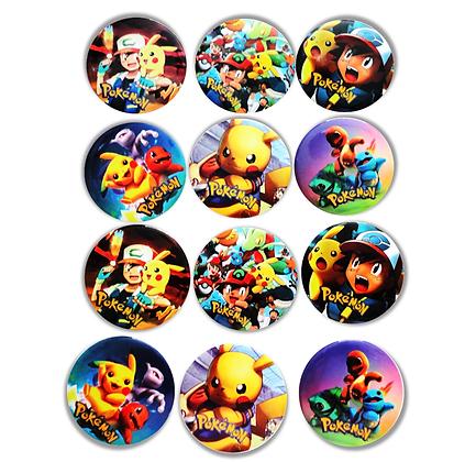 Boton metalico Pokemon  c/12 pzas