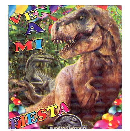 Invitacion Jurassic world c/10 pzas