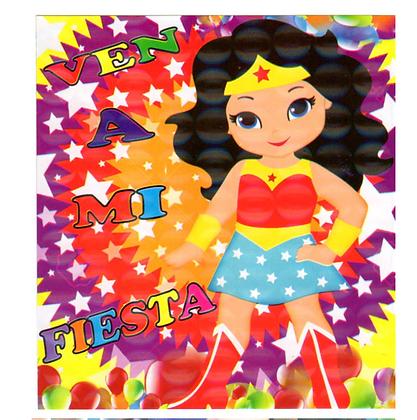 Invitacion Mujer maravilla c/10 pzas