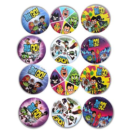 Botón metálico jovenes titanes c/12 pzas