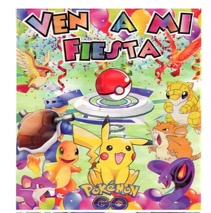 Invitacion Pokemon c/10 pzas
