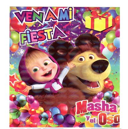 Invitacion Masha y el oso c/10 pzas