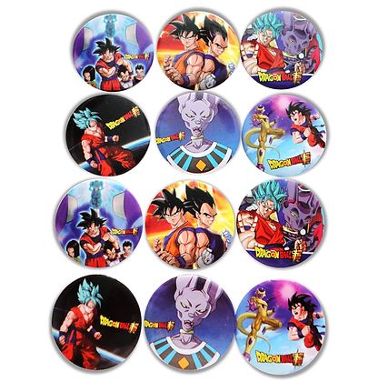 Boton metalico Dragon ball c/12 pzas
