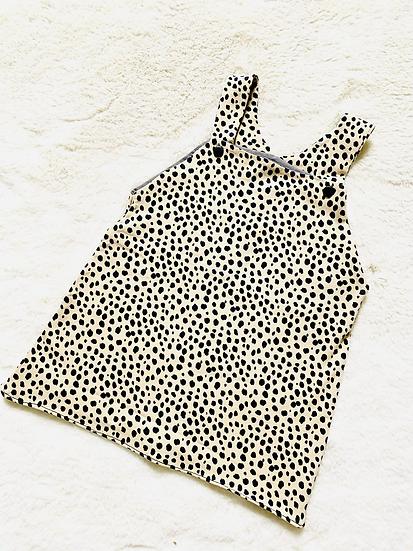 Beige Dalmation Spot Dungaree Dress
