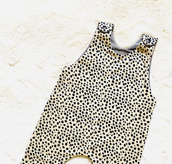 Beige Dalmatian Shorts Romper