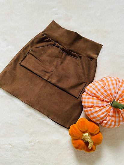 Brown Corduroy Pocket Front Skirt