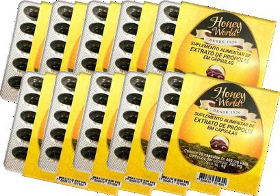 10 cartelas Extrato de própolis em cápsulas (150 cápsulas)
