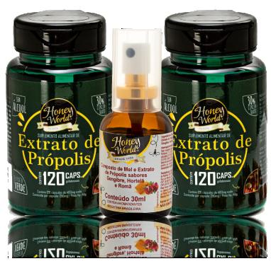2 potes de cápsula +1 spray de romã, gengibre, hortelã e própolis