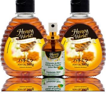 2 bisnagas de mel  e 1 spray de menta com própolis