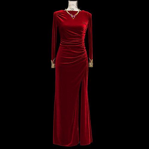 0199 BADGLEY MISCHKA RED VELVET DRESS