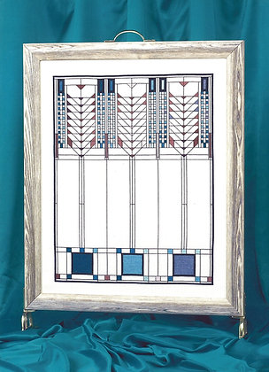 American Art Deco Firescreen - blue