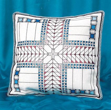 American Art Deco Cushion - blue