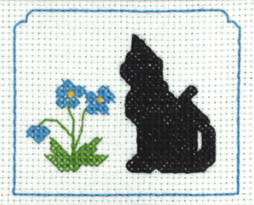 Black Cat & Flowers