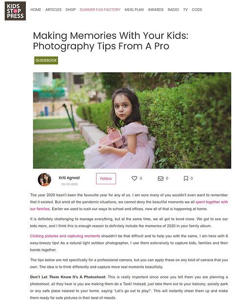Article on Kidsstoppress