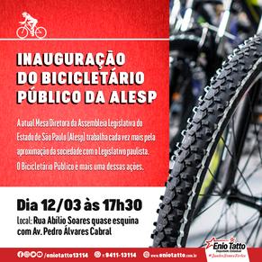 Mesa Diretora da Alesp inaugura Bicicletário Público no Palácio 9 de Julho