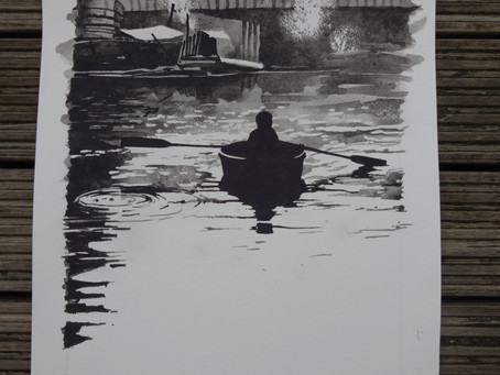 Camden Lock.  Painted with Bideford Black, a local coal based pigment.  500mm x 300mm.