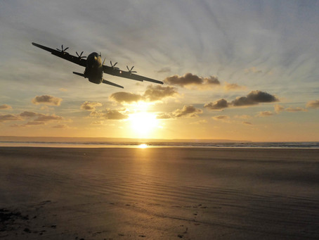 Hercules C130J over Saunton Sands.