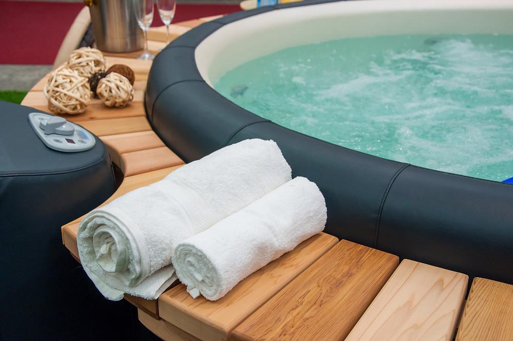 Close up photo of a hot tub.