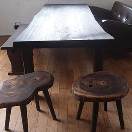秋田杉 焼黒一枚板テーブル