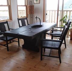 杉 一木囲炉裏テーブル 焼黒